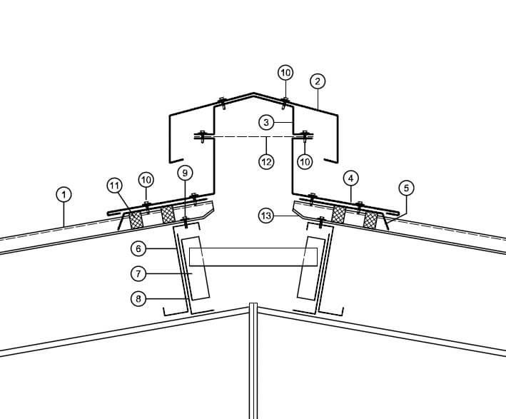 Ausbildung Lüfterfirst - Satteldachkonstruktion