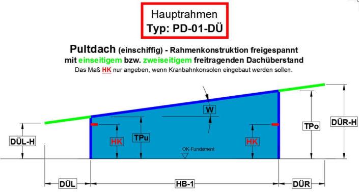 Pultdach (einschiffig) - Rahmenkonstruktion freigespannt mit Dachüberstand