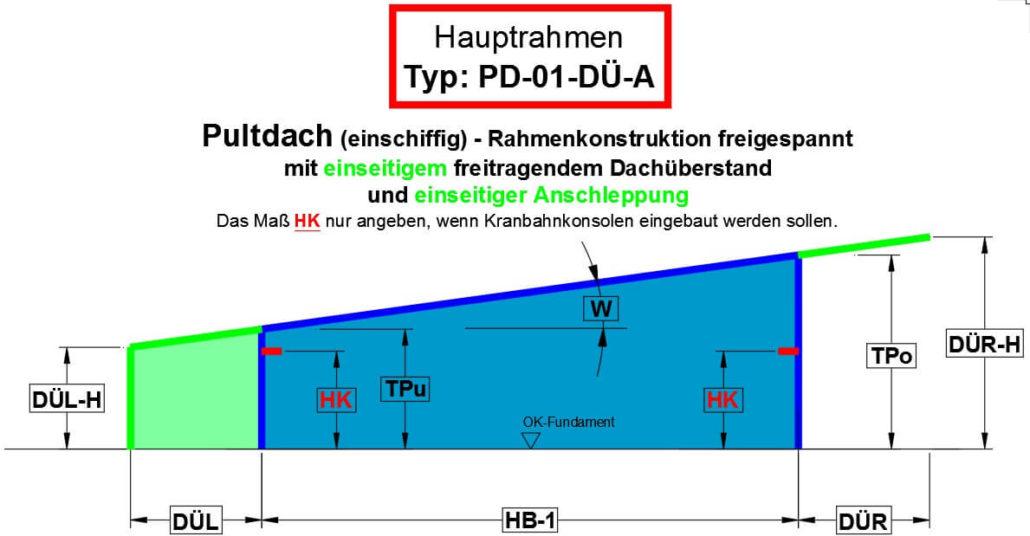 Pultdach (einschiffig) - Rahmenkonstruktion freigespannt mit Dachüberstand und Anschleppung