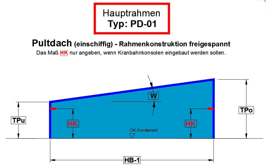 Pultdach (einschiffig) - Rahmenkonstruktion freigespannt