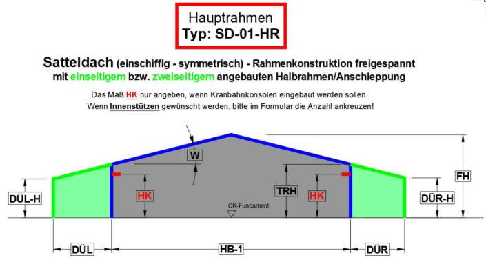 Satteldach (einschiffig - symmetrisch) - Rahmenkonstruktion freigespannt mit Anschleppung