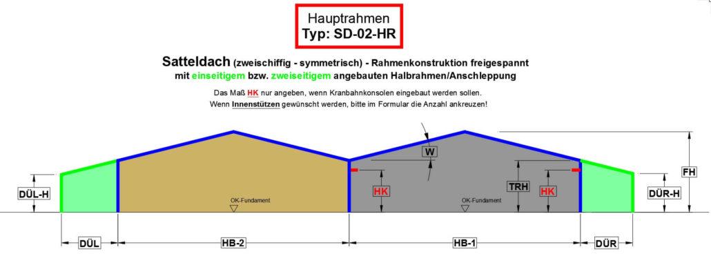 Satteldach (zweischiffig - symmetrisch) - Rahmenkonstruktion freigespannt mit Anschleppung