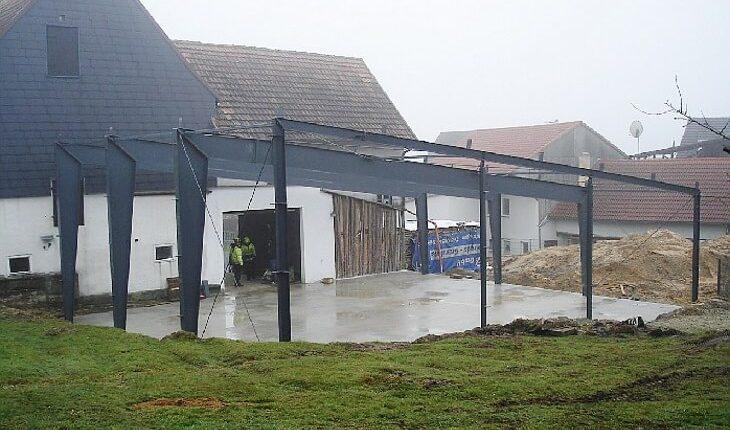 Hallenmontage Stahlhallenkonstruktion Pultdach